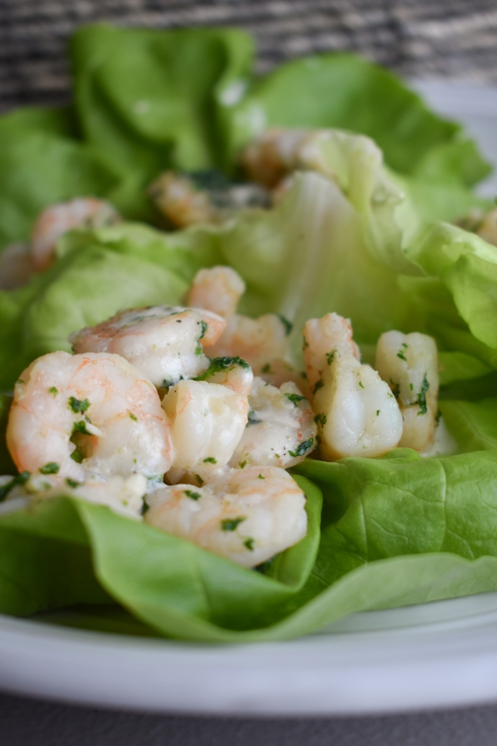 Garlic Parsley Shrimp Lettuce Boats