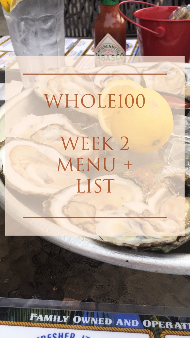 Whole100: Week 2 Menu and GroceryList